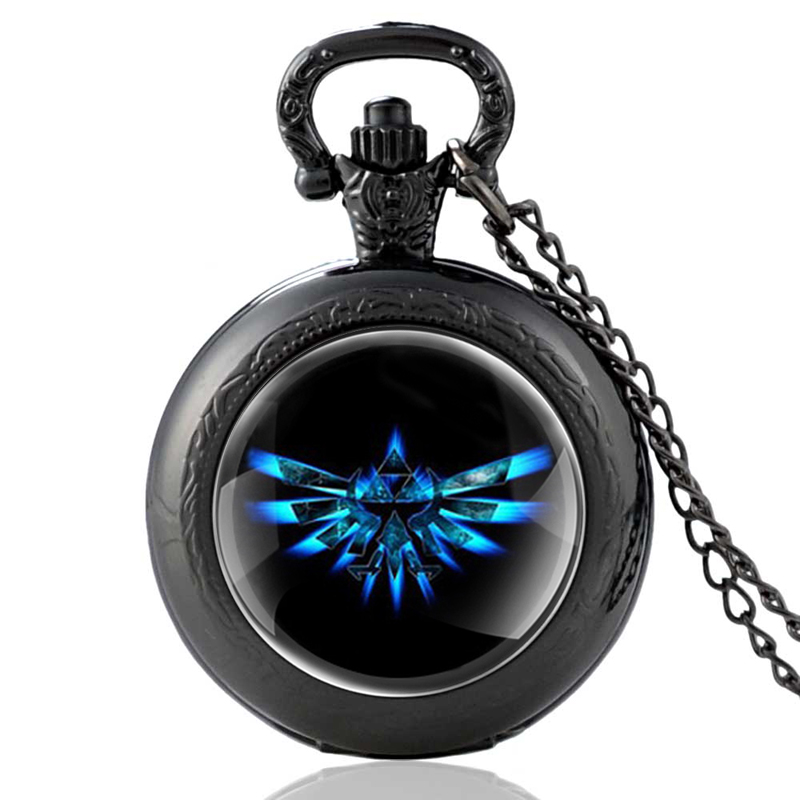 New Arrivals Vintage The Legend Of Zelda Black Quartz Pocket Watch Retro Men Women Pendant Necklace Watches Christmas Gifts