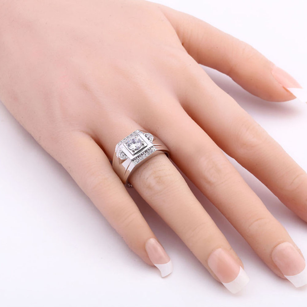 Brand Design White Gold Color Cz Cubic Zircon Crystal Ring ...