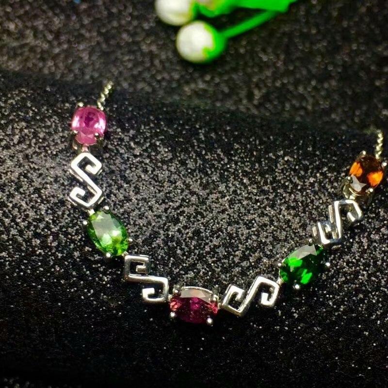 SHILOVEM 925 sterling silver Natural tourmaline bracelets classic fine Jewelry women wedding women wholesale new ll040602agx