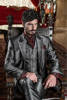 Custom Made Gray Satin Mens baroque Wedding Prom Suits 3 Pieces Embroidery Groom Tuxedos blazer masculino (Jacket+Pants+Vest)