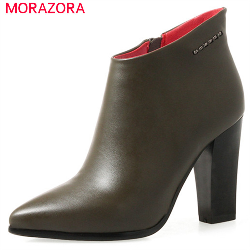 MORAZORA PU soft leather ankle boots for women zip high heels shoes fashion boots female pointed toe solid big size 34-43 memunia ankle boots for women high heels shoes woman pointed toe fashion boots female party flock solid big size 34 43