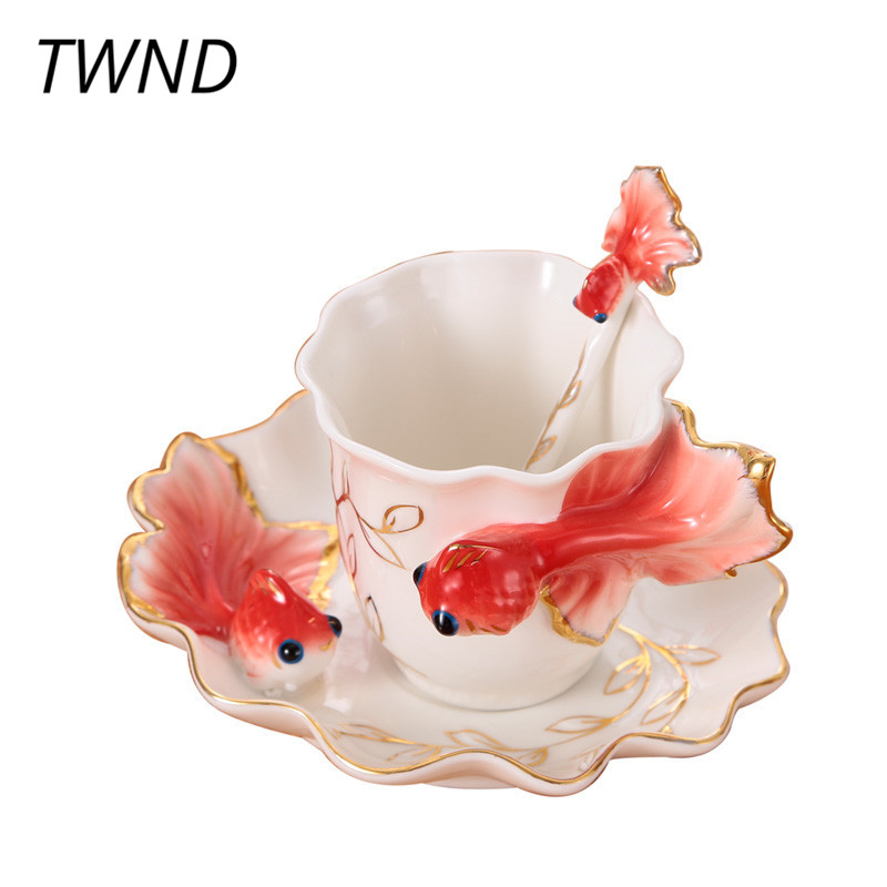 Enamel Goldfish Coffee Mugs Tea Cups and Mugs With Saucer Spoon Creative Porcelain Drinkware