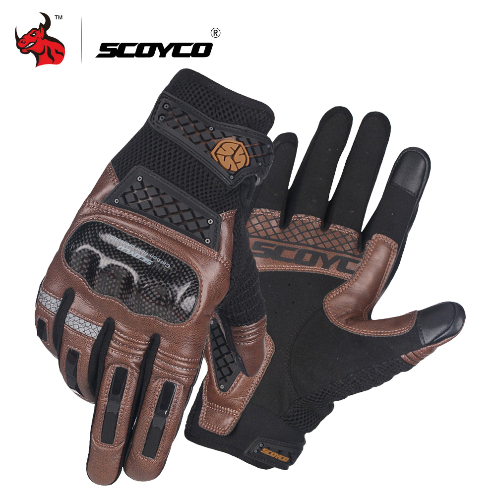SCOYCO Motorrad Handschuhe Sommer Atmungs Moto Handschuhe Carbon Fibre Motocross Handschuhe Touch Funktion Guantes Moto Reiten Handschuhe # image