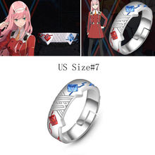 Anime DARLING In The FRANXX 02 Zero Two 925 Silver Ring Adjustable High Quality Jewelry Cosplay Props Christmas Gift