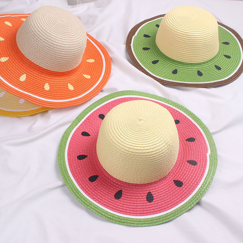 Summer Parent-child Beach Hat Panama Hat Lady Brand Women Watermelon Modeling Straw Cap Girls Outdoor Visor Sun Hat Gorras Bone