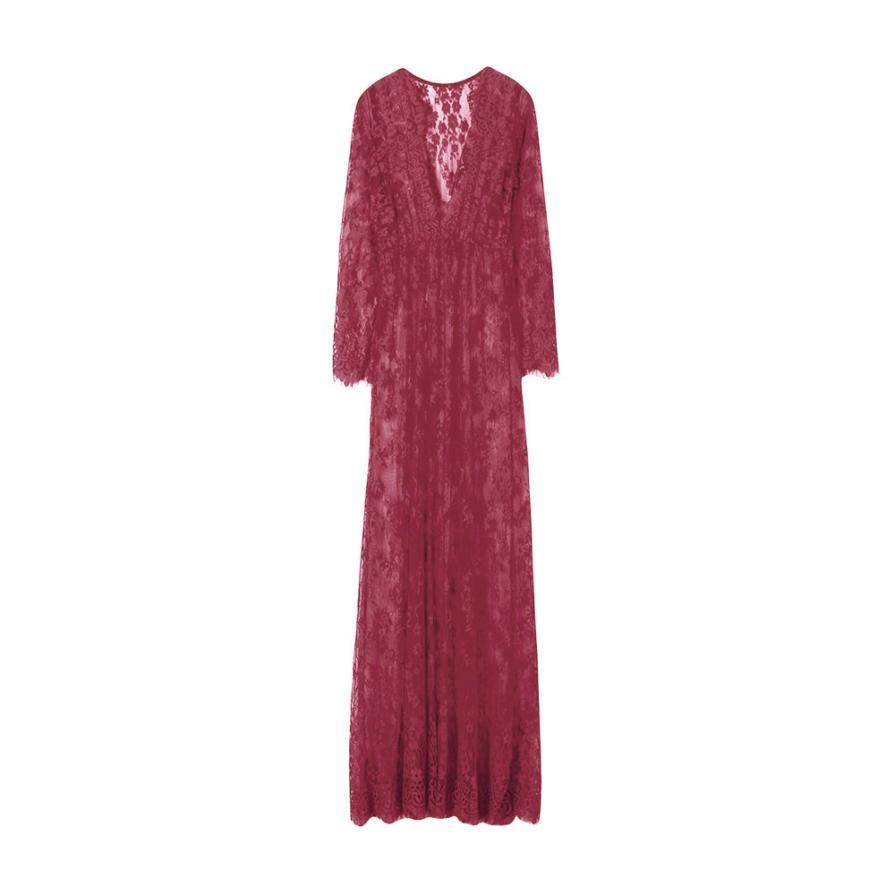 Maternity Photography Pregnant Women Lace Fashion Long Sleeve Sexy Dress 0315