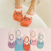 Śliczne harajuku druku kot łódź skarpetki skarpety kobiet lato jesień koreański zwierząt śmieszne słodkie low cut kostki skarpety szczęśliwy sock sokken