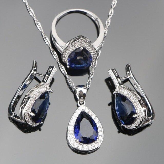 Blue Drop Zircon 925 Silver Wedding Jewelry Sets Women White Stones Earrings Set