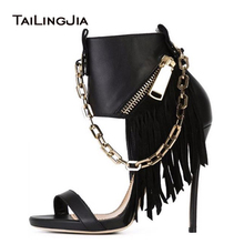 Black Open Toe High Heel Sandals with Gold Chain Women Sexy Fringe Heels Ladies Heeled Summer Ankle Boots Prom Party Shoes 2019 2017 summer women sexy gold chains strappy open toe stiletto heel nightclub party high heel sandals dress shoes ladies