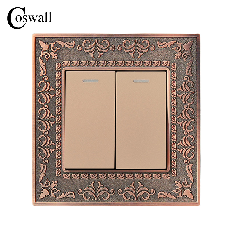 Coswall 2 Gang 1 Way Wall Switch 4D Embossing Retro Zinc Alloy Panel Luxury Push Button Light Switch 16A AC 110~250V uk standard luxury gold switch panel wall switch 110 250v 16a push button switch and 4 gang 2 way light switch