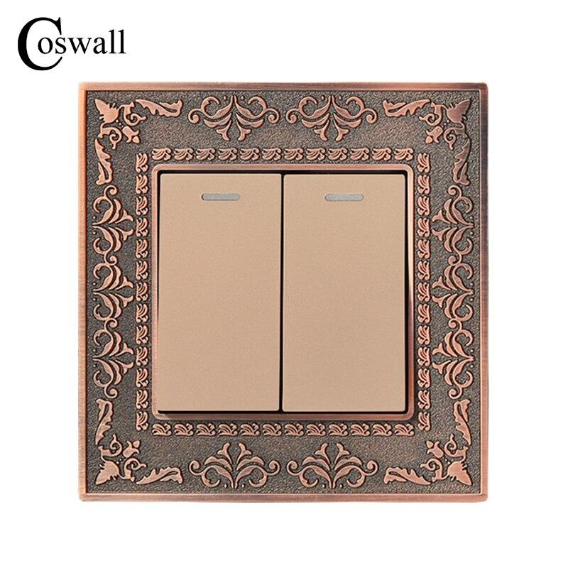 Coswall 2 Gang 1 Weg Wand Schalter 4D Präge Retro Zink-legierung Panel Luxus Push-Taste Licht Schalter 16A AC 110 ~ 250 v