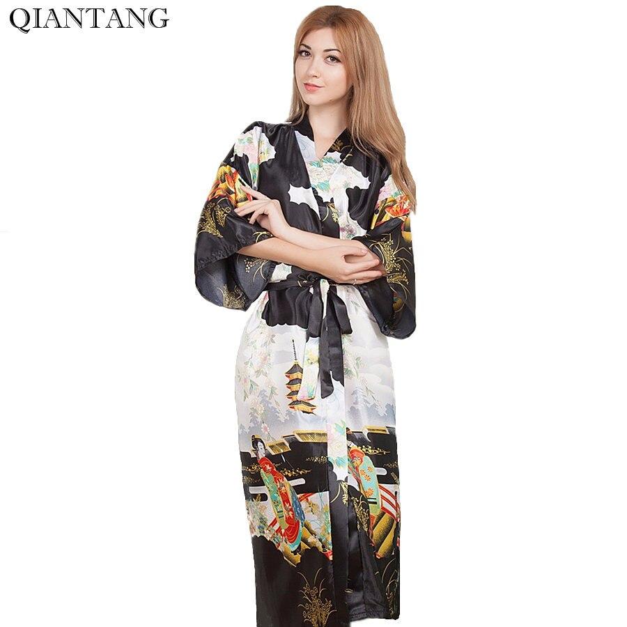 Плюс Размеры невесты свадебное ночной халат Для женщин искусственного шелка кимоно длинные Ванна платье Ночная рубашка черный трусы пижам...