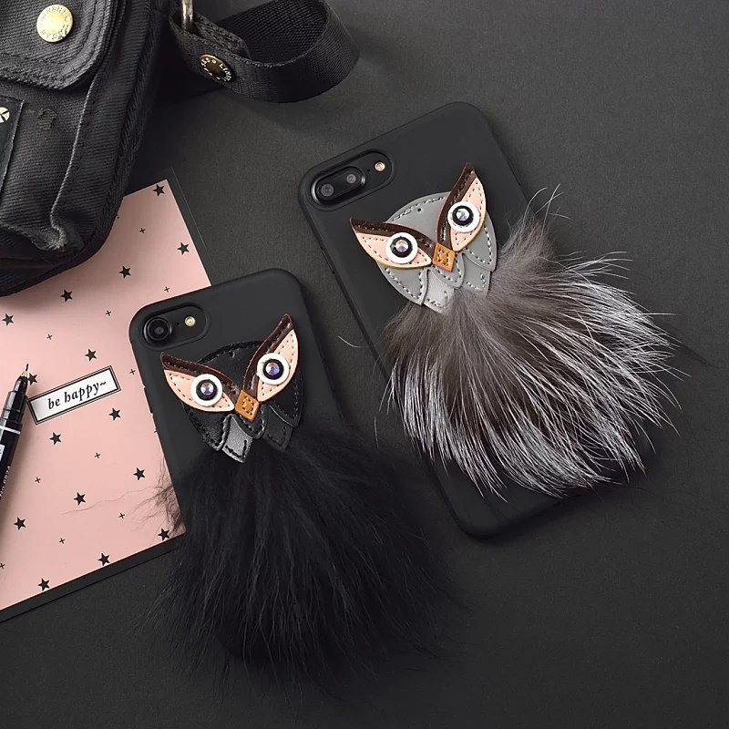 Phone Cases For iphone 6 Case For iPhone 7 Luxury Owl Mink Hair Scrub Soft TPU Silicone Back Cover For iphone 6SPlus 7Plus 6Plus