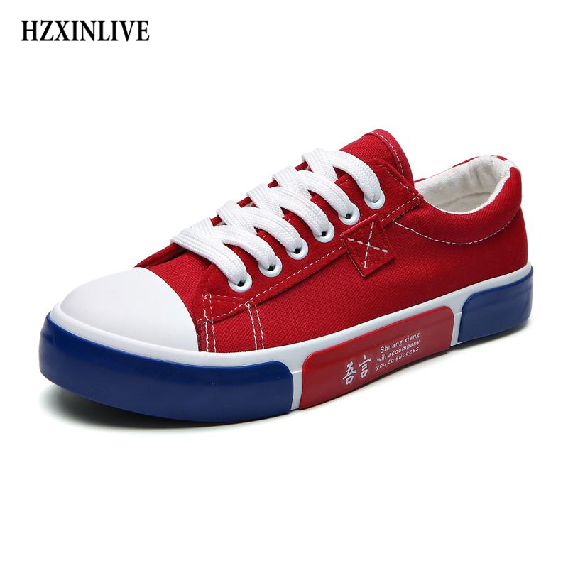 HZXINLIVE Shoes Woman Fashion 2018 Autumn Ladies Canvas Shoes Casual Flats zapatos de mujer Ladies Vulcanized Shoes Comfortable