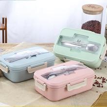 Ланч-бокс для микроволновки пшеничной соломы столовая посуда контейнер для хранения еды Детский Школьный для детей офисный Портативный Bento Box