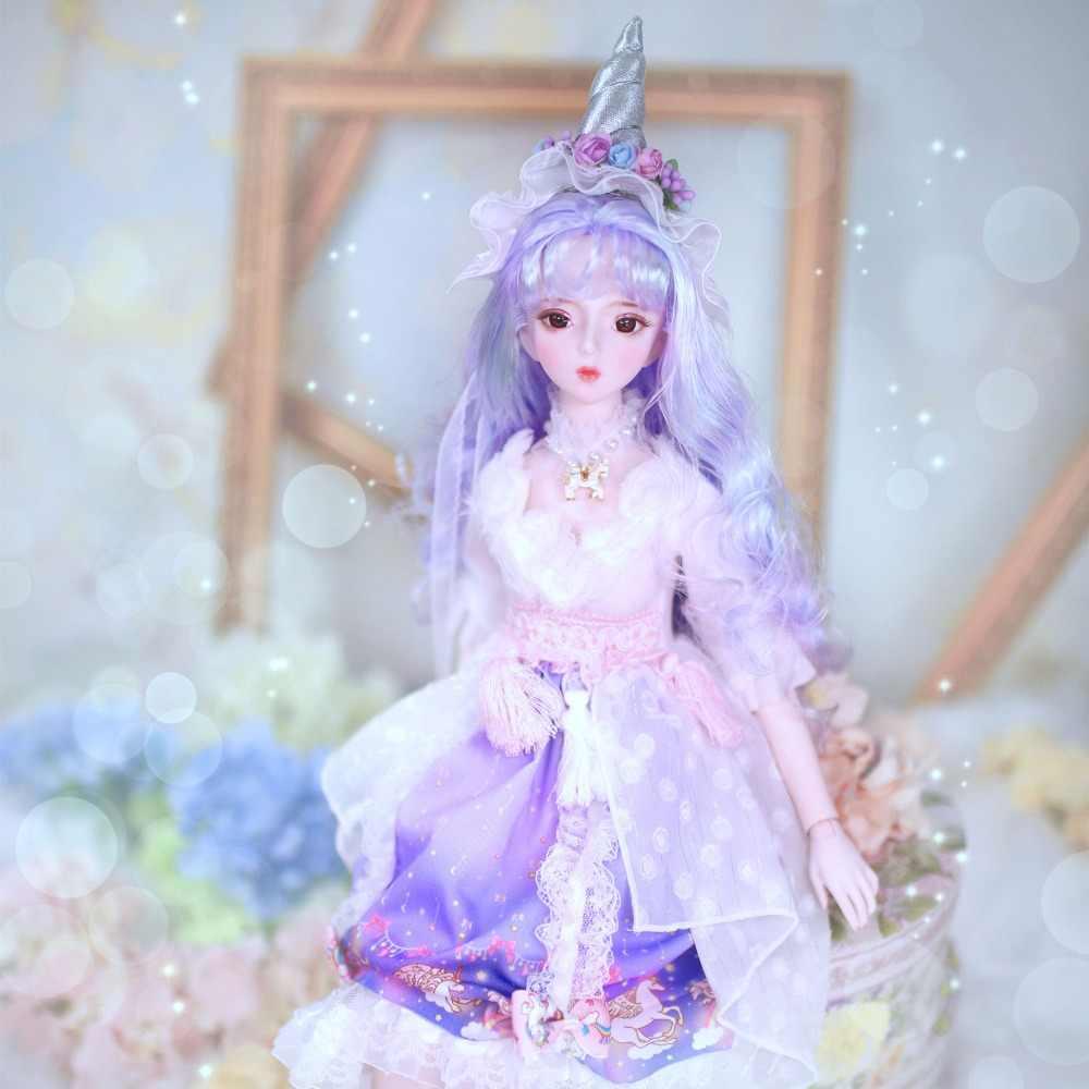 1/3 de la muñeca de bjd 62 cm Cuerpo Conjunto muñeca blanco piel con pelo de ropa chino Zodiac serie AI YoSD MSD SD Kit de juguete bebé regalo DC
