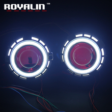 ROYALIN Car Motorcycle Double LED Angel Devil Eyes Headlights Lens Bi Xenon H1 H4 H7 Square COB Rings Lamp Projector DRL Lights