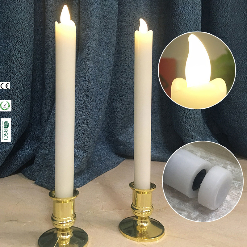 2pcs Pure White Wax Window Candles Long Skinny Battery ...