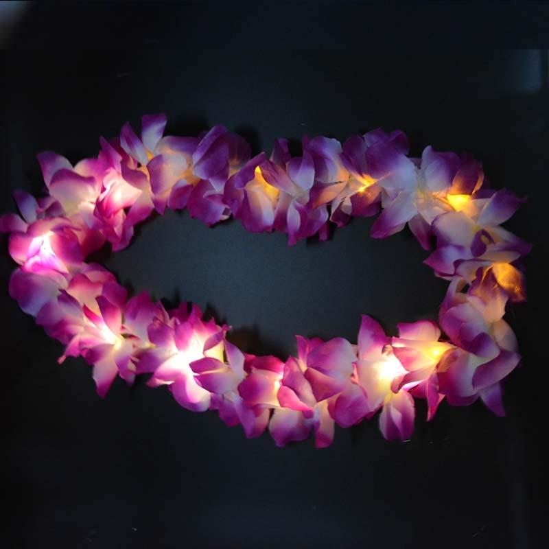 Light Glowing LED Hawaii Hula Luau Flower Leis Garland Վզնոց - Տոնական պարագաներ - Լուսանկար 6