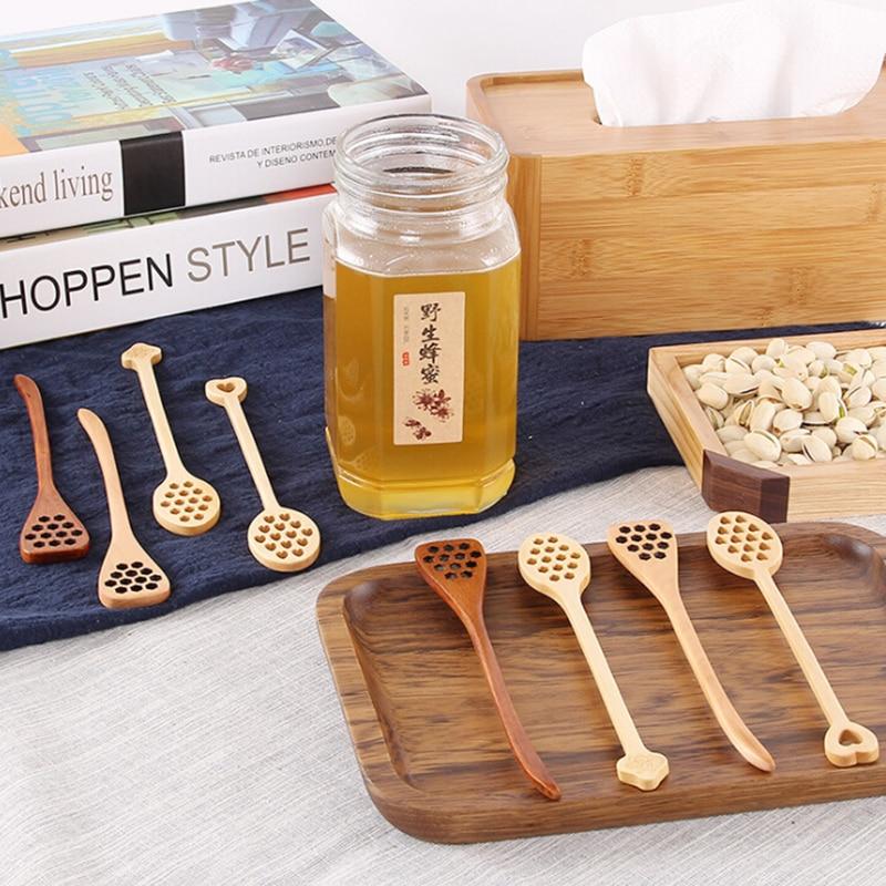 Houten Koffie Roer Bar Honing Lepel Mengen Stok Dipper Hollow Out Lange Handvat Honing Jar Koffie Melk Roerstaafje Keuken Gereedschap Bespaar Zonder Kosten