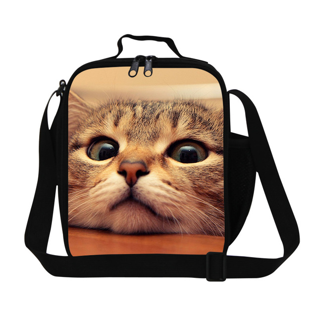 3D Cat Print Lunch Bag For Children Insulated School Lunch Organizador Office Ladies Small Thermal Food Bag Girls Lunch Tote