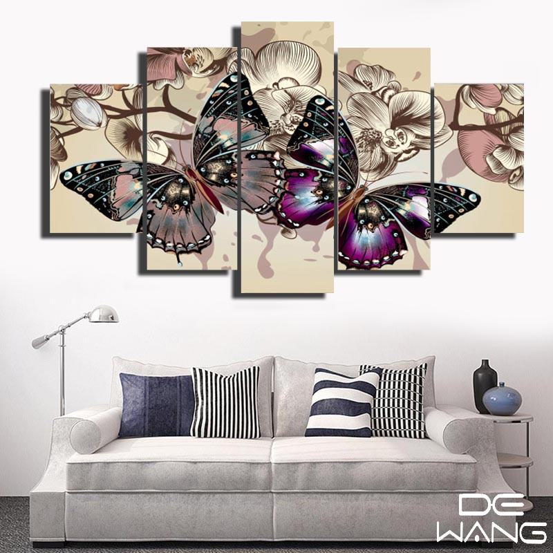 5 Panel Hd Butterfly Wall Art Pictures Running Horse Large Modern Home Wall Decor Abstract Canvas Print Canvas Painting