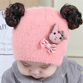Fast High Quality 2016Korean Cute Lovely Fashion Bow Wig Knitted hats Children Baby Hat Fashion Kids Cap Autumn&winter