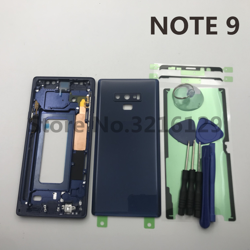 Original Full Housing Case Middle Frame+Rubber Seal Back Cover+SIM card Replacement Parts For Samsung Galaxy NOTE 9 N960 N960FOriginal Full Housing Case Middle Frame+Rubber Seal Back Cover+SIM card Replacement Parts For Samsung Galaxy NOTE 9 N960 N960F