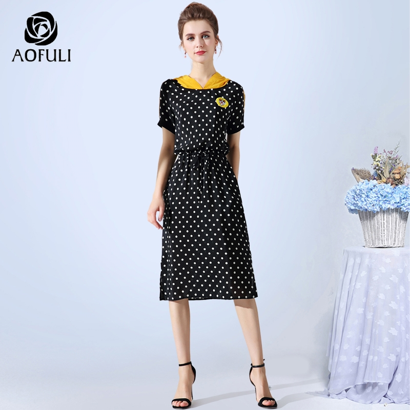 size 4XL 5XL Vintage Polka Dots Print Dress Summer Plus Size Hooded Casual Dress Drawstring Midi