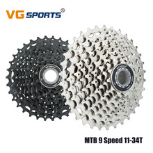 VG Sports MTB Bicycle Freewheel Cassette Sprocket 9 speed 11-34T Fixed Gear GOG 9V 34T Road Bicycle Flywheel for Shimano Sram цена в Москве и Питере