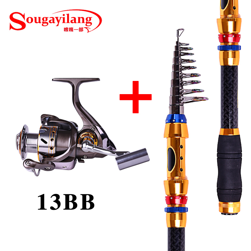 Sougayilang 3 6m telescopic fishing rod rod and 13bb for 13 fishing combo