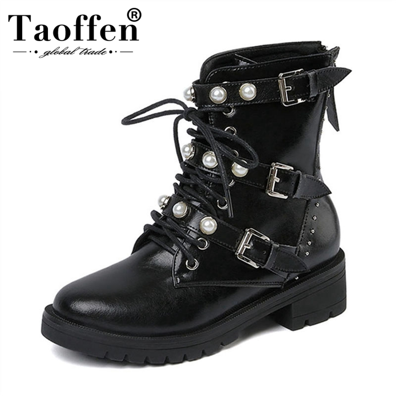 Taoffen Genuine Real Leather Leisure Ankle Boots Pearl Woman Shoes Casual 3 Buckles Boots Shoes Woman Female Boot Size 34-39Taoffen Genuine Real Leather Leisure Ankle Boots Pearl Woman Shoes Casual 3 Buckles Boots Shoes Woman Female Boot Size 34-39