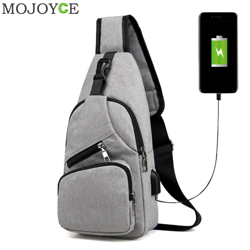 Casual Men Chest Pack Canvas USB Charging Crossbody Bags for Men Shoulder Handbag Fashion Travel Cross Body Bag Male Chestbags