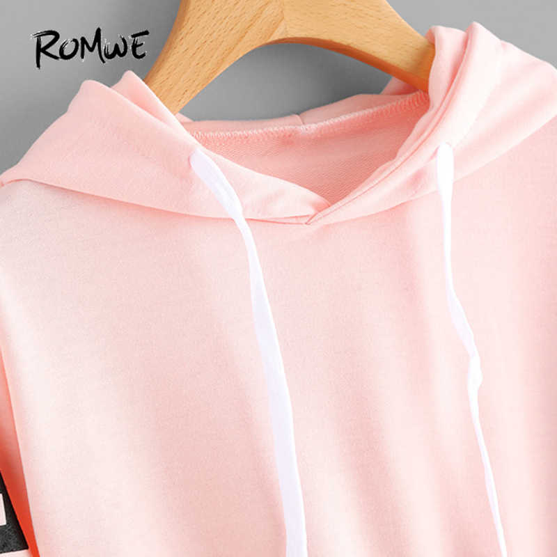 bd3898c9fa6c9e ... ROMWE Pink Cropped Hoodies Drawstring Casual Women Letters Print Long  Sleeve Hooded Sweatshirt Autumn Graphic Sweet ...