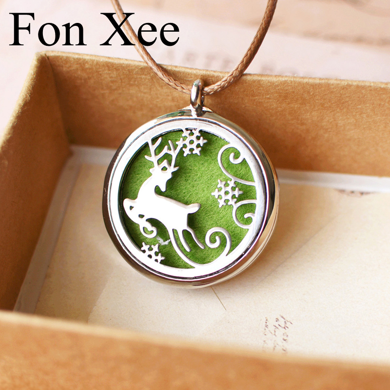 Women Bijoux Deer Snowflake Stainless Steel Necklace Locket with Green Pad Perfume Essential Oil Storage Box Christmas Gifts H27