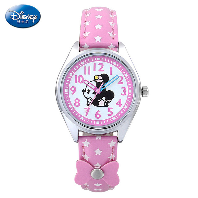Children Disney Watch 3 Colors Leather Strap Quartz Wristwatch 2015 Pink&white&Purple Mickey Clock Montre Enfant
