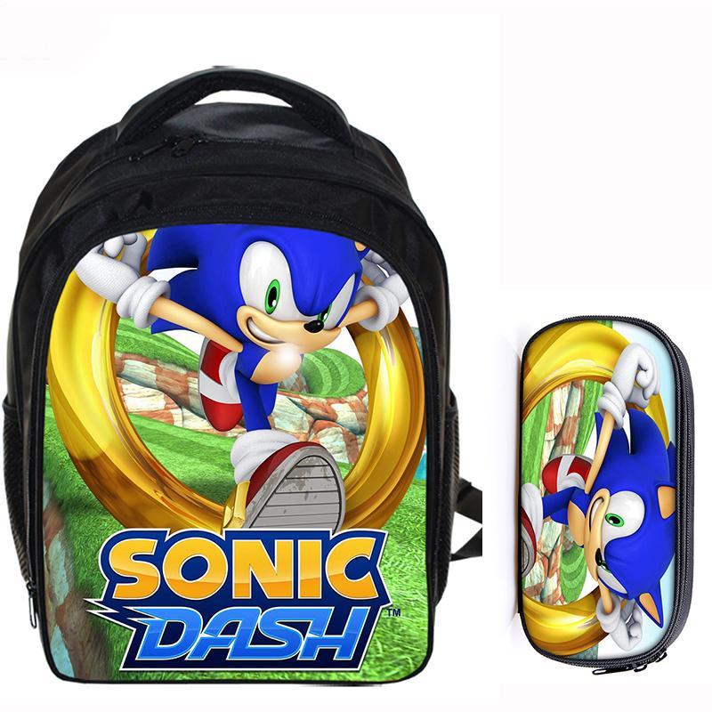 13 Zoll Super Mario Bros Sonic The Hedgehog Cartoon Kinder Rucksack Schule Taschen Für Jungen Mädchen Mochila Infantil Bleistift Tasche Sets Online Rabatt