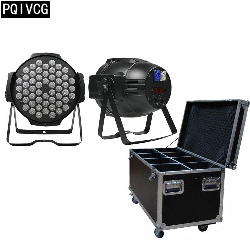 8pcs/54x3w led par light rgbw+flight case flat par led dmx512 professional stage lighting equipment dj light