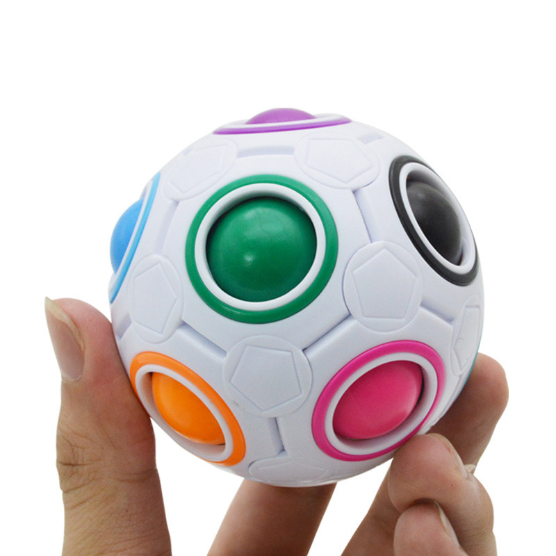Funny Creative Magic Cube Spherical Speed Rainbow Puzzles Ball Football Kids Educational Learning Puzzle Toys For Children Adult