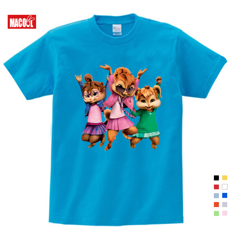 Meninas roupas de bebê para o verão Nova Brittany Eleanor Jeannette e Os Esquilos Alvin Traje Das Meninas Dos Meninos Tops t-shirt Do Traje