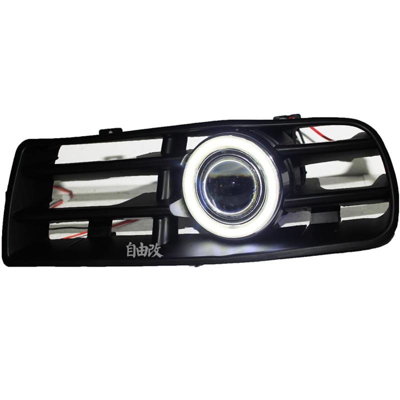 eOsuns cob ангел глаз светодиодные фары дневного света DRL + Противотуманные фары + объектив проектора для Volkswagen VW гольф 4 мк4 1998-2005