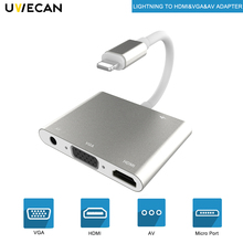 For Lightning To HDMI VGA AV Vidio Audio Charge Adapter With Line And Cable iPhone X 8 8P 7 7P 6S iPad/Air/Mini/iPod
