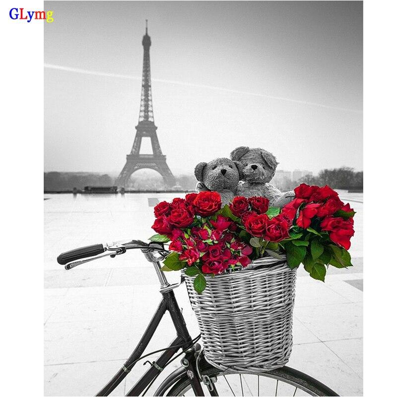 ②Glymg DIY diamante pintura Torre Eiffel Bicicletas flores paisaje ...