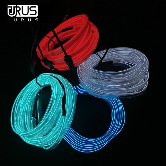 JURUS 3/5 meters Flexible Neon Car cold light EL Wire 12V Ribbon ...