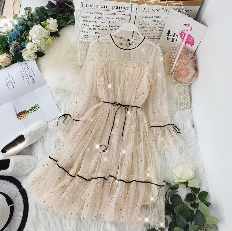 HISUMA spring autumn new women Star sequins gauze flare sleeve lace-up Princess dress female elegant o-neck mesh puff dresses 17
