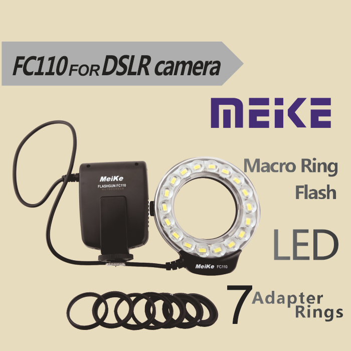 Meike FC110 LED Flash Light Macro Cincin FC110 untuk Pentax Canon EOS Nikon Olympus DSLR Camera