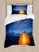 Night Duvet Cover Set Camping Tent Under a Night Sky Full of Stars Holiday Adventure Exploring Outdoors 4 Piece Bedding Set