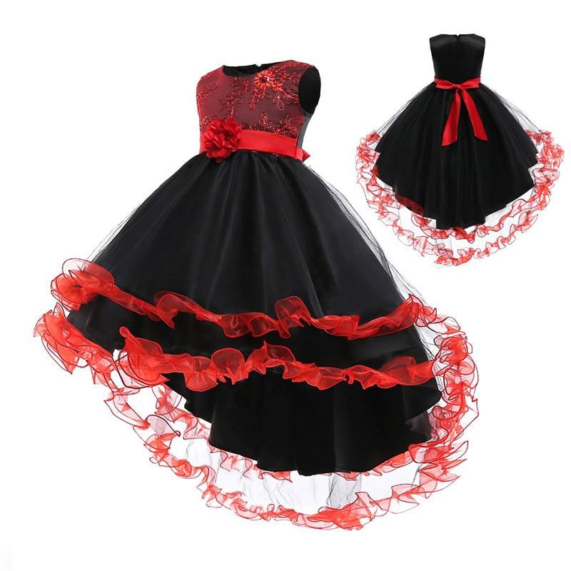 Teens long evening wedding elegant   flower     girl     dresses   kids elegant clothing first communion princess lace   dress   baby ostume