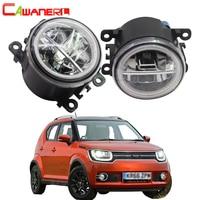 Cawanerl For Suzuki Ignis II Closed Off Road Vehicle 2003 2008 Car Styling 4000LM LED Bulb H11 Fog Light + Angel Eye DRL 12V