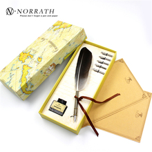 Vintage Black Feather Fountain Pen Luxury Gift Box Quill Ink Pen Signature Pen Child's Gifts Stationery Set